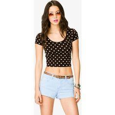 #crop top #polkadots #denim #shorts #black #white