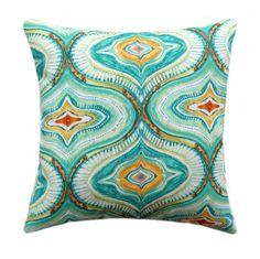 Blue, Teal, Green, Orange Moroccan Outdoor Throw Pillow Richloom Tyngsboro Opal #Richloom