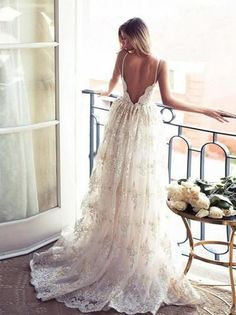 Gorgeous lace, open back wedding dress.
