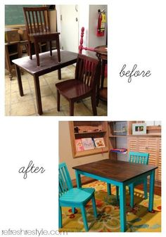 Table and Chair before and after - love the mix of wood and paint. I'm thinking creamy antique for our current table. Refurbished Furniture, Recycled Furniture, Cheap Furniture, Furniture Projects, Kids Furniture, Furniture Makeover, Home Projects, Painted Furniture, Luxury Furniture