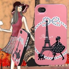 truffol.com   High Quality Cute Eiffel Tower Girl Skin Case Cover for iPhone 4&4S&5