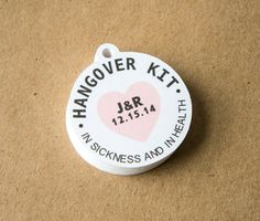 Hangover Kit Tags Round with Heart In by TwistedTreeOccasions