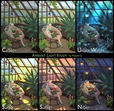 This is a study regarding the ambient light for a girl in green in the greenhouse. Let's found out which one is the best for reading? Digital Painting Tutorials, Digital Art Tutorial, Art Tutorials, Digital Paintings, Concept Art Tutorial, Drawing Tutorials, Art Sketches, Art Drawings, Drawing Faces