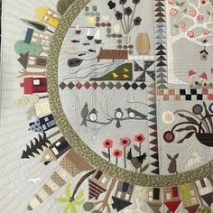 This stunning version of Round the garden by Dorothy is truly amazing. All done with needle turned appliqué in Japanese neutrals. Thanks for sharing #roundthegarden #applique