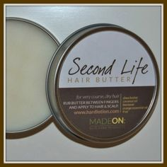 SECOND LIFE Hair Butter Pocket Size (1 oz) Second Life Hair Butter combines shea butter and coconut oil to add moisture and oils to your hair, with just enough beeswax to add texture and style.  It is made for dry hair and is especially good for coarse, kinked or frizzy hair.   Hardlotion.com #haircare #moisturize