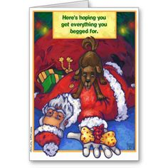 Christmas Wish Greeting Cards created by Imagine That! Design, art by Traci Van Wagoner #Christmas #santa #gifts #humor