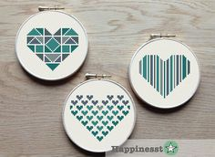 A set of 3 geometric heart patterns in my personal favorite colors. Designed tot fit a 4 inch hoop (stitched on 14 count aida) Try different color combinations and fabrics to create a new look every time! The pattern comes as a PDF file that youll will be able to download immediately