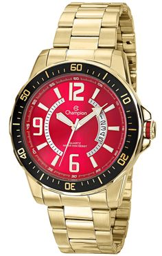 Champion CA30945R Men's Gold-Tone Watch Stainless Steel With Red Dial And Date