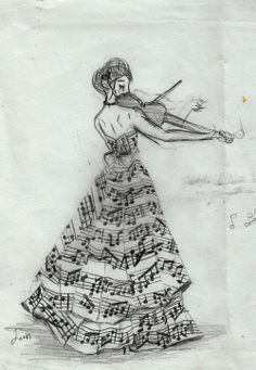 """a lady clothed in music--I wonder what other """"fabrics"""" could be drawn this way. Music, math, words, symbols, characters, etc."""