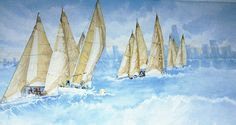 Sailboat Mural  Click to enlarge  Size: 32' x 5'  Location: Evanston, IL  Residence  Wraps around two walls | Trompe l'oeil | Mural