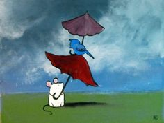 Mouse and Bird Kids Wall Art Umbrella Stormy Day by andralynn