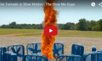 Fire Tornado in Slow Motion – The Slow Mo Guys A fire tornado? In slow-mo? S-weet! Slow Mo Guys, Gav and Dan combine wind with fire to create a swirling vortex of flames, then slowed it all done for us to appreciate it better in all its glory...
