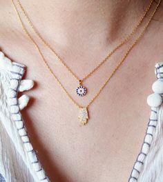 Tiny Pave Evil Eye Gold Necklace on Etsy, $35.00