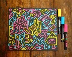 POSCA pens on blackboard produce a nice neon effect.