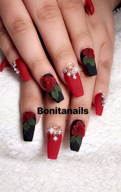 Black and red nails, wtih pearls and red acrylic roses Nail Art~!