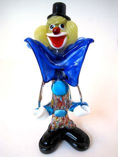 Vintage 1960s Italy Murano Art Glass Clown Figurine From aunty Nora ,s