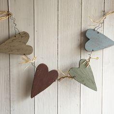 Shaker Wooden Heart Garland-Coloured