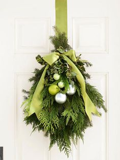 front door holiday door decor-ribbon and ornaments can be any color!