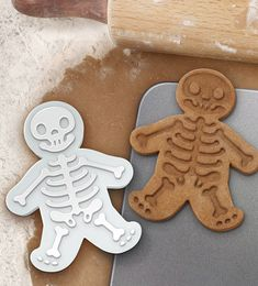 """You can use the cutter to cut your cookie dough and then use the reverse to stamp a skeleton onto your ""gingerdead"" man.  Don't be frightened — it's so easy to use."
