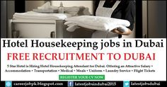 Hotel Housekeeping jobs in Dubai. 5 Star Hotel is hiring Hotel Housekeeping Attendant for Dubai. Offering an attractive Salary + Accommodation + Medical + Meals + Uniform + Laundry Service + Flight Tickets etc.
