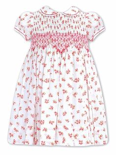 Sarah Louise Girls White Dotted Swiss / Pink Floral Bouquet Smocked Dress with Collar
