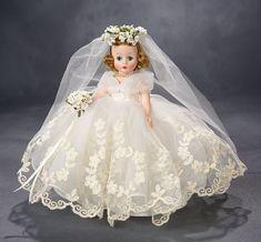 Lot: Cissette in Wreath Wedding Gown, Original Box, 1958 Old Dolls, Antique Dolls, Vintage Dolls, Beautiful Dolls, Beautiful Bride, Vintage Madame Alexander Dolls, Tulle Wedding Gown, Bride Dolls, Little Doll