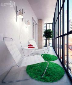 дизайн балкона с большими окнами фото