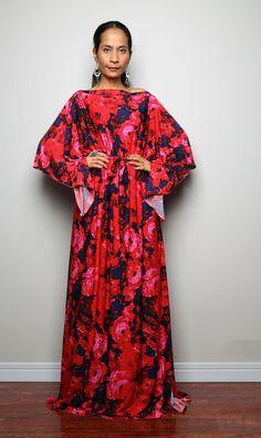 Maxi Dress  Long Wide Sleeve Boho Floral Print Dress  by Nuichan, $59.00