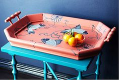 hand-painted tray and table from steven shell
