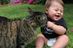 "A baby saying, ""Oh, you!"" to a cat."