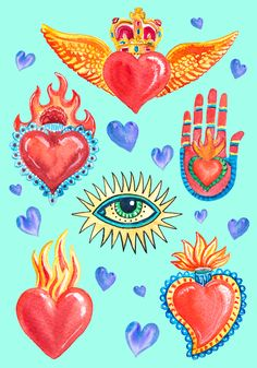 Sacred heart Mexico watercolor Art Print by Liliya Kovalenko - X-Small Colorful Drawings, Art Drawings, Frida Art, Mexico Art, Heart Illustration, Heart Painting, Hippie Art, Mexican Folk Art, Heart Art