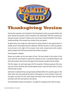 Looking for an activity Thanksgiving this year? This THANKSGIVING FAMILY FEUD…