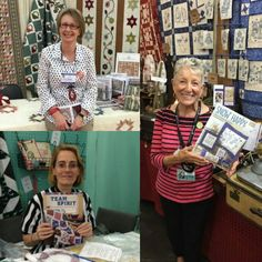 """More #Martingale author sightings! Leonie Bateman, coauthor of """"Country Elegance,"""" Suzzie Schuyler, author of """"Team Spirit"""" (love the ref shirt!), and Robin Kingsley of #birdbraindesigns - her book """"Snow Happy"""" debuts in January - but you can get a sneak peek at #quiltmarket! #martingaleatmarket #authorlove"""