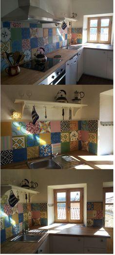 Wie man eine schliche Küche zum Strahlen bringen kann? Mit unseren #Patchwork-#Zementfliesen natürlich! #Frankreich