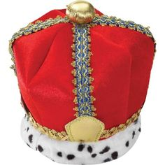 OFF or FREE SHIP -King Crown Velvet Adult Costume : Fit for a king! Red crown with gold accent on top and faux animal fur and gold rope accents around the bottom. One size fits most adults. Theme Halloween, Adult Halloween, Halloween Costumes For Kids, Adult Costumes, Halloween Parties, Halloween Ideas, Chicken Hats, King And Queen Crowns, Animal Fur