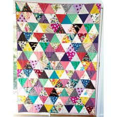 Finished quilt! Twin sized with a mix of modern fabrics and vintage sheets. | by Emily/Emmmylizzzy
