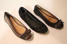 SALE New COACH Womens Ballet Flat logo black brown size US 7 8 9 EU 37 38.5 39.5