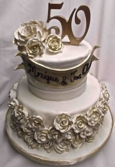 gold wedding anniversary cakes Wedding Anniversary Cakes