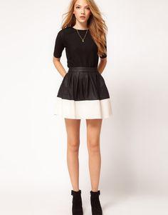 ASOS   ASOS Skater Skirt in Leather Look at ASOS #bePickie