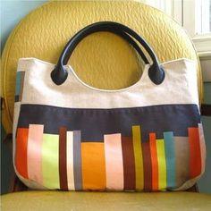 murrayadams:: largish linen purse (with faux leather handles) - Photo