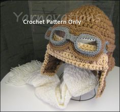 Items similar to Aviator Hat Set - Bomber Hat, Flying Goggles and Scarf Crochet Patterns for the Whole Family on Etsy Crochet Baby Hats, Crochet Beanie, Crochet Scarves, Crochet For Kids, Knit Crochet, Hand Crochet, Crocheted Hats, Crochet Crafts, Crochet Projects