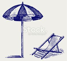 Chair And Beach Umbrella Doodle Style