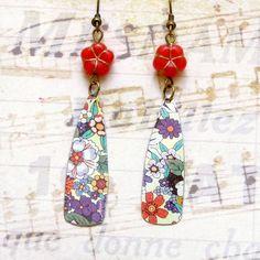 Floral Tin Earrings, Bohemian Vintage Earrings, Boho Earrings, Dangle Earrings, Upcycled Jewelry, Handmade, Womens Gift , Teen Girls Gift by bleuluciole on Etsy