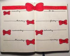 Bullet journal weekly layout, Christmas bullet journal theme, Christmas bow drawings, cursive date headers, unique date headers. @createwithanncakes