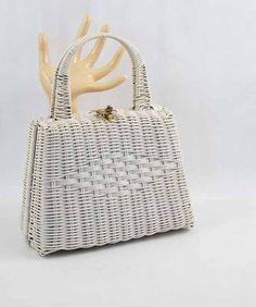 Vintage Purse White Woven Wicker Box Handbag by alleycatsvintage, $30.00