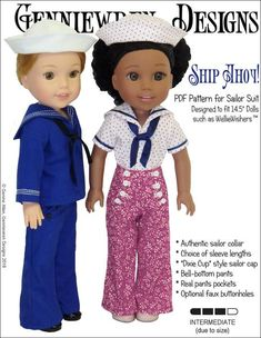 """Your sailor doll will be ready to set sail in this outfit consisting of bell bottom pants with a mock button front fastening and real pockets, a sailor top with a choice of two sleeve lengths, and a """"Dixie-cup"""" sailor cap. Sailor Cap, Sailor Shirt, Sailor Collar, Doll Clothes Patterns, Doll Patterns, Clothing Patterns, Sailor Outfits, Suit Pattern, Hook And Loop Tape"""