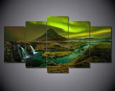 Northern Lights Waterfall Aurora Borealis 5-Piece Wall Art Canvas - Royal Crown Pro