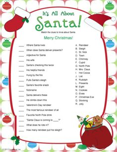 Santa Trivia - kids Christmas games.