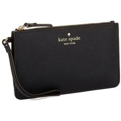 Kate Spade New York Slim Bee Leather Cedar Street Wristlet (91 CAD) ❤ liked on Polyvore featuring bags, handbags, clutches, black, purses, kate spade wristlet, genuine leather purse, wristlet clutches, black handbags and kate spade handbag