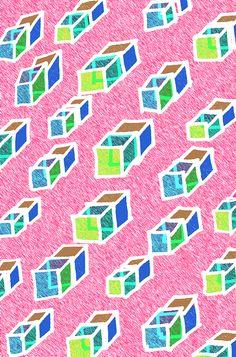 Cuboids - Sarah Bagshaw pink green aqua teal turquoise